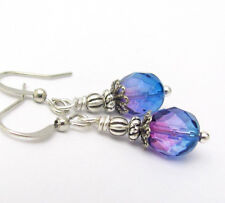 CZECH GLASS EARRINGS Purple to Blue Artisan Handmade Silver Plated Small Dainty