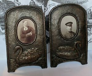 Pair Wonderful Early 20th c. Sweden Arts & Crafts Swan Copper Picture Frames