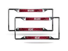 Miami Heat NBA Chrome (2) EZ View License Plate Frame Set