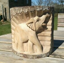 More details for elephant tree wooden carving, fair trade, wood, ornament, figure, statue