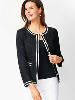 RSVP by Talbots Womens Corded Lace Jacket Size 12 Black Blazer Pearl Buttons A9