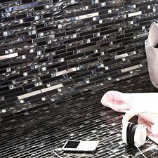 Metall Glas Mosaikfliesen Malaya Schwarz Silber für Küchenwand Fliesenbordüre WC