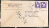 1944 Army Post Office USA American Red Cross Cover to Clemens Mi Victory Stamps