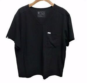 FIGS Scrub Top Shirt Technical Collection Black Size Medium - 2 Side Pockets!!!