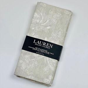 "Chrysanthemum Floral Gray Beige Cotton Napkins Set of 4 by Ralph Lauren 20""x20"""
