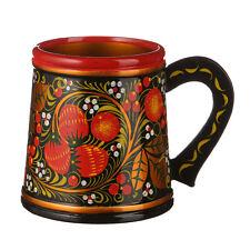 Russian Khokhloma / Hohloma Hand Painted Wooden Lacquered Mug 4.7''