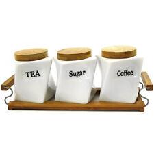 SET OF 3 CANISTERS COFFEE TEA SUGAR CERAMIC TRAY KITCHEN 13CM STORAGE JAR GIFT