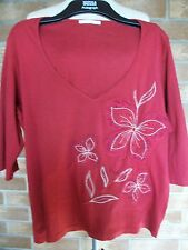 Rust 3/4 Sleeve Beaded & Embroidered Top, Size 22, M&S