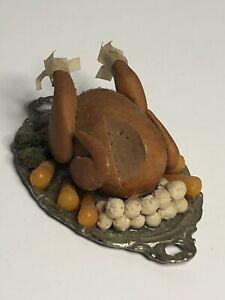 Vintage Dollhouse Miniature Turkey Dinner On Metal Platter By Small Wonders Food