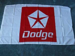 """DODGE FLAG - White with Red Lettering & Star Size: 58"""" x 30"""" New"""