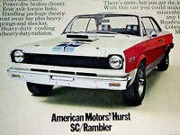 1969 AMC HURST SC/RAMBLER * ORIGINAL AD *390 v8/door/hood/steering wheel/decal