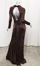 ROBERTO CAVALLI Brown Rayon Knit Long-Sleeve Open Back Gown Maxi Dress 46/L