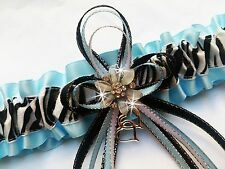 Light Blue Satin & Animal Glitter ZEBRA Print PROM GARTER Wedding Formal Bridal