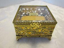 "Metal Filigree jewelry Casket Coffin Box 4"" Square velvet 24 kt gold plated Vtg"