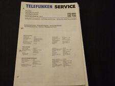ORIGINALI service manual TELEFUNKEN HS 650 HS 700