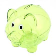 Plastic Collectible Piggy Bank Coin Savings Money Cash Box Clear Green TS
