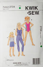 KwikSew Pattern #2724 Girls Leotards Leggings Shorts Size(4-5-6-7)