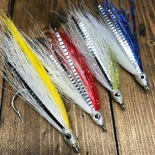 Mustad 4 Red Fish Teaser Flies Fluke Flounder Striper Bass Fishing Bait Rig 5/0