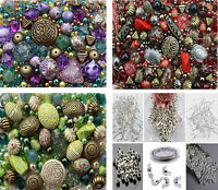 Approx x 1200 Jewellery Making Beads Mix & 350 Findings - earwires jumprings