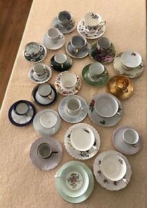Vintage Lot of 22 Tea Cups and Saucers Various Makers, Shapes, Sizes, and colors