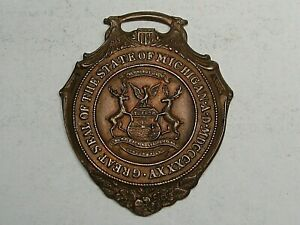 Vintage 1885 Watch Fob Michigan GF On Bronze.  #61