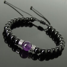Men's Women Braided Bracelet Black Onyx Amethyst Sterling Silver Spacers 1212