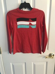 Boys Youth Long Sleeve Top Old Navy Red Waves Large 10-12 Gently Used