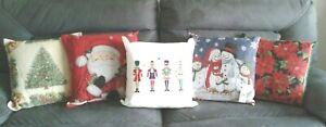 "CHRISTMAS DESIGN CUSHION 18"" x 18"" NUTCRACKER SANTA SNOWMEN TREE OR POINSETTIA"