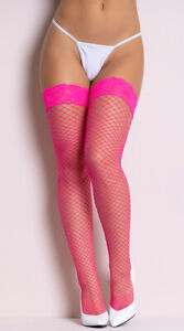 One Size Fits Most Womens Diamond Net Thigh High With Lace Top, Lace Top Diamond