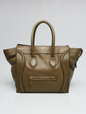 Celine Olive Green Grained Leather Mini Luggage Tote Bag