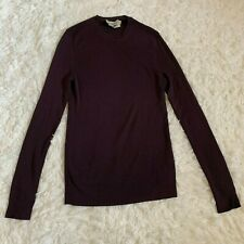 Yves Saint Laurent YSL Womens M Medium Scoop Neck 100% Wool Sweater Purple