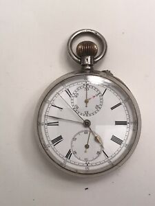 Chronograph Pocket Watch , Solid Silver , Antique