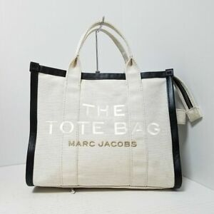 Auth MARC JACOBS The Sumer Small Tote Bag Cream Black Tote Bag