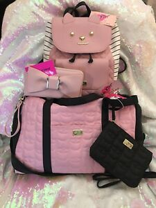 Betsey Johnson Pink Kitty Weekender & Backpack NWT