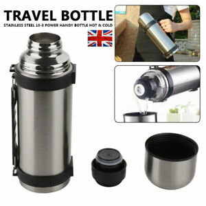 1.2L 1.5L Thermos flask stainless steel unbreakable vacuum handle drinks Silver