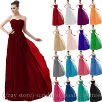 Simple Long Chiffon Bridesmaid Dresses Formal Evening Wedding Party Prom Gowns
