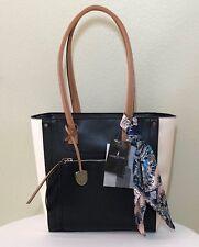 LONDON FOG Satchel Black Sand Shoulder Bag Handbag Purse wScarf NWT $115.
