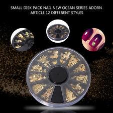 1*Box Hot Gold Ocean Series Metal Deco Charms Nail Art Decoration DIY Manicure