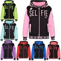 Enfants Filles Garçons Vestes Designer # Selfie Brodé Capuche Zippé Haut