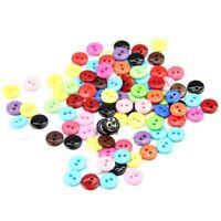 100 pieces 8mm boutons circulaires en resine a deux trous accessoires de co F9W1