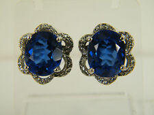 EARRINGS:  15+ CARATS LONDON BLUE TOPAZ WHITE SAPPHIRE 925 STERLING SILVER