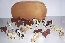 Convolute Ancient Erzgebirge Animals For Farm 20 Pieces + Chip Box Before 1945