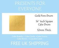 "1 x 14"" Inch Square Gold Wedding Birthday Cake Drum / Board 12mm"