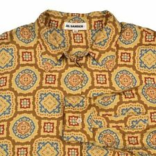 JIL SANDER Brown Yellow Mosaic Geometric 100% SILK Casual Dress Shirt - 38 /  M