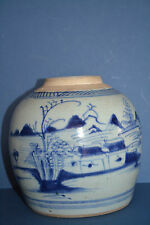 Antique 18th century Chinese Blue and White Jar, Landscape Decoration, c 1780
