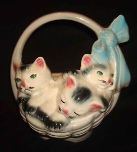 Vintage American Bisque Pottery 3 Cats Kittens Blue Bow Basket Flower Planter