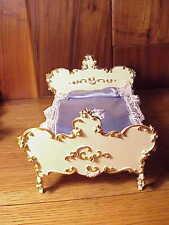 Vintage Spielwaren Boutique Szalasi Rococo Doll Furniture - Gold/White Bed #1