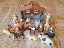 Nativity Scene Figurines 18 piece Christmas Antique Vintage 1930's