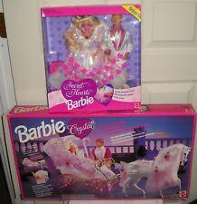 #6792 Mattel Secret Hearts Barbie & Ken Dolls & Foreign Crystal Horse & Carriage