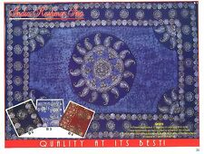 Indian Bedspread Twin- Batik Blue- Ethnic Wall Hanging Bohemian Dorm Powerloom